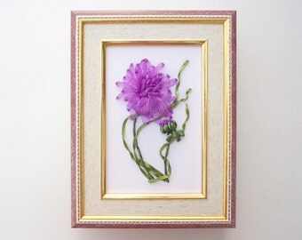 Hand Embroidery Flower Design, Ribbon Embroidery Design, Ribbon Embroidery Wall Hanging Art, Organza Ribbon Embroidery Art - Dahlia Flower