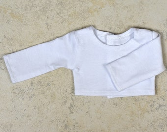 Long sleeve cropped top for 18 inch dolls Color White