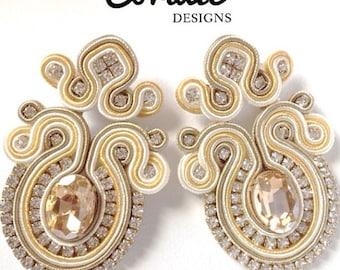soutache earrings, long clip-on earrings, wedding earrings, ellegant long earrings, soutache braid jewelry, bead embroidery earrings