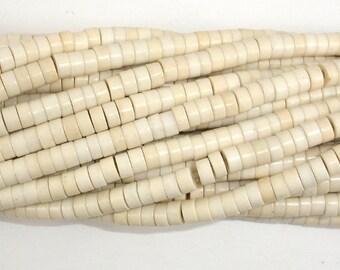 White Howlite Beads, 2x4mm Heishi Beads, 15.5 Inch, Full strand, Approx 188 beads, Hole 1mm (275041006)