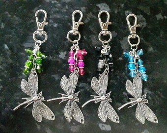 Dragonfly bag charm, keyring. Perfect gift. Your choice of colours