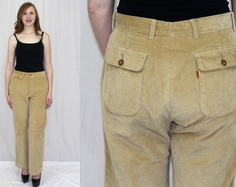 Vintage 70s 80s Tan LEVIS Corduroy Orange Tab WIDE Leg Retro Dress Pants 32x32