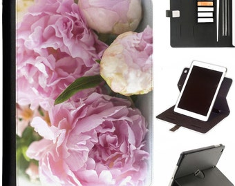 Pretty pink peoines Luxury Apple ipad 360 swivel i pad leather case cover with card slots