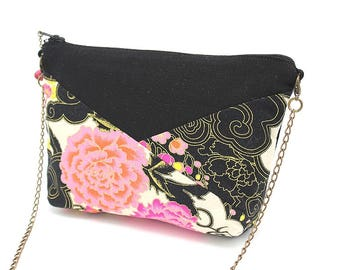 Small black shoulder bag with orange and pink flowers