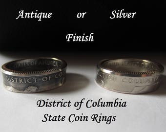 "Washington D.C. State Quarter Handmade ""Coin Ring "" **FREE SHIPPING**"