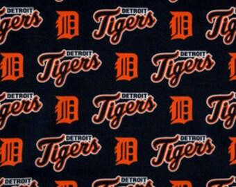 Detroit Tigers Cotton Licenced Fabric, Fat Quarter, 1/4 yard, 1/2 yard, 3/4 yard, 1 yard