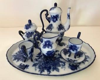 Vintage miniature 9 pc. tea service set with Flow Blue Floral design- Nice Condition