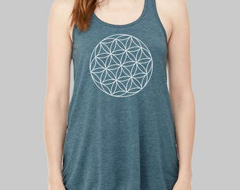 Sacred Geometry Clothing - Seed of Life Tank Top, Geometric, Graphic Tank, Graphic Tanks For Women, Racerback, Flowy Tank Top, Plus Size