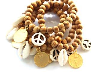 Bracelet beads Ruddy boho piece wood, shell and peace and love