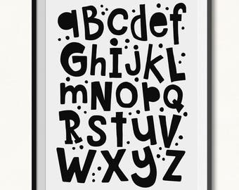 Monochrome Alphabet / Alphabet Print / DIGITAL / Alphabet Printable / Monochrome Print / Quirky ABC Print / ABC Printable / Kids Room Print