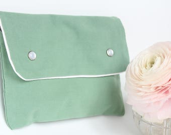 Kit of toilet/pouch handbag - Emerald Green - made from old fabric