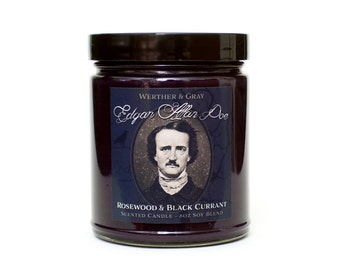 EDGAR ALLAN POE, Scented Candle, Rosewood & Black Currant, Gothic Decor, Horror Candle, Victorian Era, Literary Candles, Book Themed, Writer