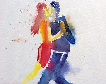 Printing, Tango, dance, painting, watercolor, dancers, art, art print, painting Tango #2