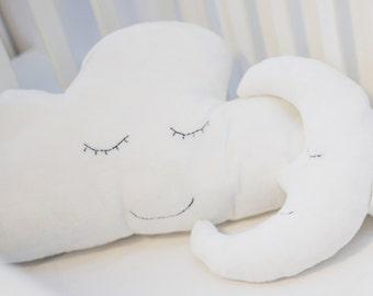Moon Pillow, Cloud pillow, Nursery Pillow, Kids Pillow, Cute Pillow, Plush Pillow, Nursery Bedding Pillow, Stuffed Plush Toy, Soft Baby Toy