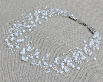 White necklace, Wedding necklace, Wedding jewelry,  Bridesmaid gift, Beaded Multistrand necklace. Beaded Jewelry