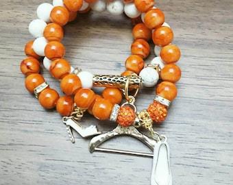 Orange and White Howlite Women Bracelet Set