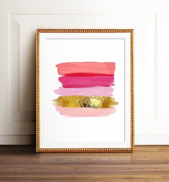 Pink and gold art, PRINTABLE art, Brushstroke art, Wall art, Abstract art, Glam art, Glam decor, Abstract print,Modern art print,Coral print