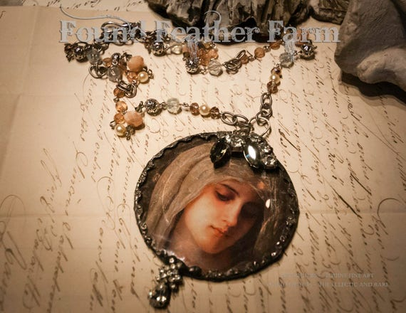 Handmade Beveled Glass Jeweled Pendent with Handmade Beaded Necklace