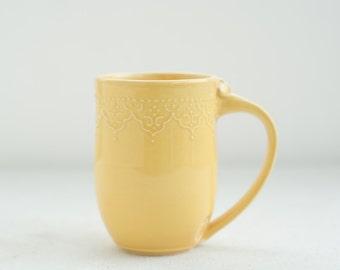 Handmade Lace Mug in Honey