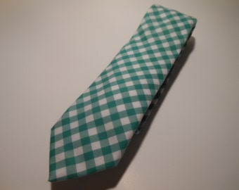 Green Gingham Necktie