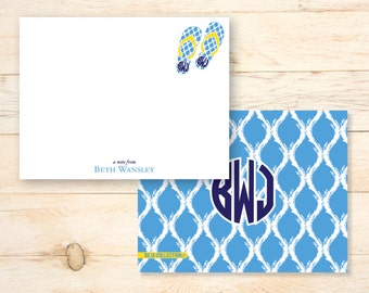 Personalized notecards - FLIP FLOP NAUTICAL monogrammed notecards - monogram stationery - thank you notes
