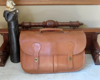 Coach Carrier British Tan Leather Briefcase, Bag, Briefcase Bag, Laptop Case - Made in the U.S.A.- No Strap