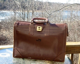 Vintage Leather Gladstone Style Briefcase With Brass Closure Clasp- Very Reasonably Priced