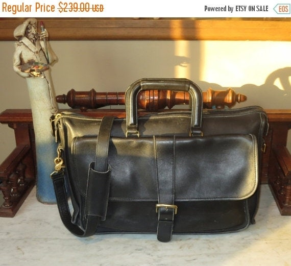 Football Days Sale Coach Harrison Multi-Compartment Briefcase Laptop Carrier In Black Leather U.S.A. Made - Rare Bag -Very Good to Excellent