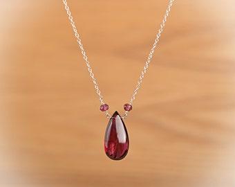 Large Garnet Necklace, Red Natural Rhodolite Garnet Crystal Necklace, January Birthstone Pendant: 14k Gold Fill, Rose Gold, Sterling Silver