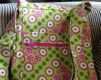 Crossbody 2 Zip Hipster green and pink handbag - Shoulder Bag