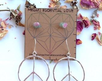 Peace and Love Earring Set. Raw Watermelon Tourmaline Studs. Peace Earring Hoops. Sterling Silver. Boho Jewelry.