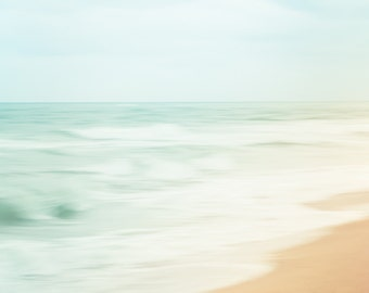 Abstract Ocean Print, Canvas Art, Teal Ocean Photo, Beach Photograph, Abstract Art, Modern Decor, Aqua Ocean Photograph, Beach House Decor