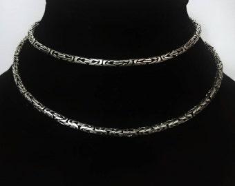925 Silver Borobudur Byzantine  Chain Necklace
