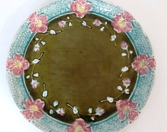 vintage large french majolica plate or tray