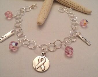 Breast Cancer Bracelet, Breast Cancer Jewelry, Breast Cancer Awareness, Cancer Awareness Jewelry, Cancer Charm Bracelet