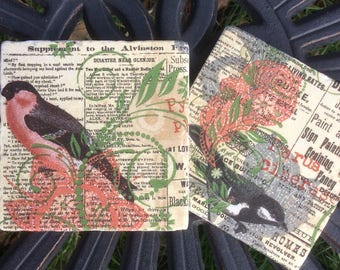 Set of 2 Marble Coasters-Vintage Birds and Script/Birds Drink Coaster/Bird tile art/Floral/Bird Coaster sets/Foilage/Newspaper Script