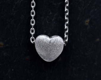 Sterling Silver Simple Little Heart Puff 3D Pendant Necklace - Textured Frosted Finish 18''  z97