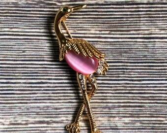 Vintage pink flamingo brooch, flamingo pin, flamingo jewelry, bird brooch, bird pin, jewelry pin, Tropical bird brooch, Gold tone flamingo