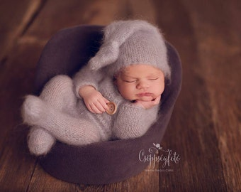 Newborn outfit,Newborn onesie, Photography props, Newborn romper, Newborn props,Footed romper,Elf hat,Knitted outfit,Photo props,Mohair