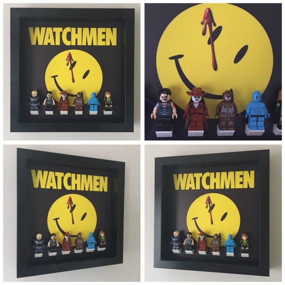 The Watchmen Minifigure Frame, Mum, Gift, Geek, Box Frame, Friends, Dad, Idea, Birthday, Kids, Children, For Her, For Him, Lego, Superhero