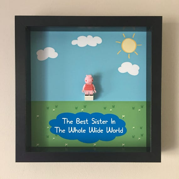 Sister Peppa Pig Minifigure Frame, Mum, Gift, Geek, Box, Birthday, Mum, Anniversary, For Him, Lego, Comic, For Girl