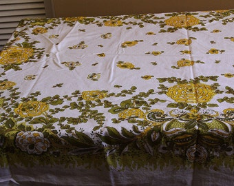 20% off MCM Tablecloth- White Yellow Green FLOWER POWER -Retro Table Linens - 64 by 48 Inches- Mod Tablecloth - Vintage Tablecloth -