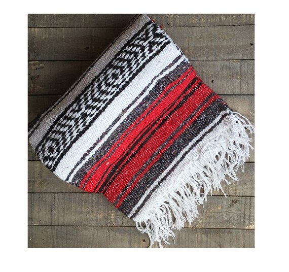 Mexican Beach Blanket: RED Colored Handwoven Mexican Style Beach Blanket Bohemian