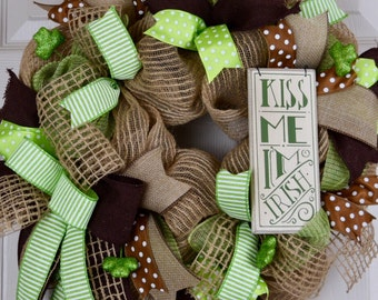 St. Patrick's Day Jute and Burlap Mesh Wreath with Glitter Shamrocks; Kiss Me I'm Irish; Irish Decor; Green Brown & Beige Wreath Door Decor