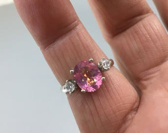 Beautiful 2.95ct Mystic Pink Topaz Ring Size 10