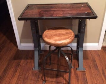 Desk, Industrial, Entry table, Console, Sewing machine base, Reclaimed flooring, 100 % Reclaimed