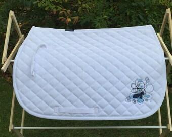 Embroidered Saddle Pad - English All Purpose Saddle Pad - Flower Saddle Pad - Saddle Pad - English Saddle Pad  -Ready to ship