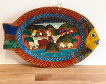 Vintage Handpainted Mexican Pottery Fish Plate | Wall Plaque | River Farm Fish Rabbits Sky | Folk Art Story