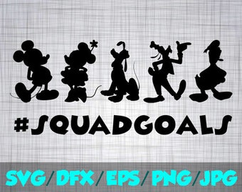 Disney SVG Disney Iron On Decal Cutting File / Clipart in Svg, Eps, Dxf, Png, Jpeg for Cricut & Silhouette squad goals Fab 5 five friend