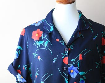 vintage women's navy floral blouse // over sized short sleeved button up dark blue shirt with flowers // 1980s vintage blouse for women